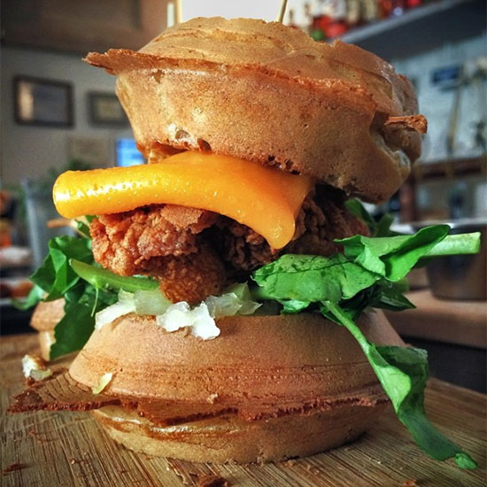 FWX ROOT AND BONE FRIED CHICKEN WAFFLE SANDWICH
