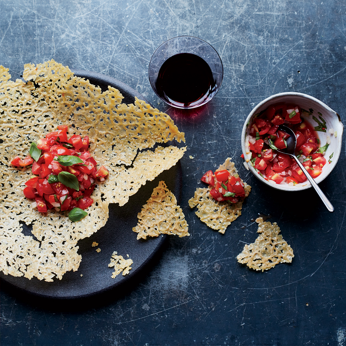 Food Wine: Giant Frico With Spicy Tomato-Basil Salsa Recipe