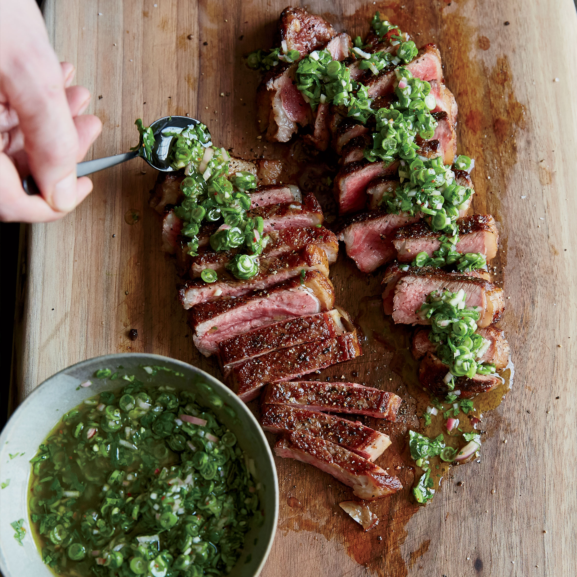 Grilled Strip Steaks with Green Bean Chimichurri Recipe - Evan Rich ...
