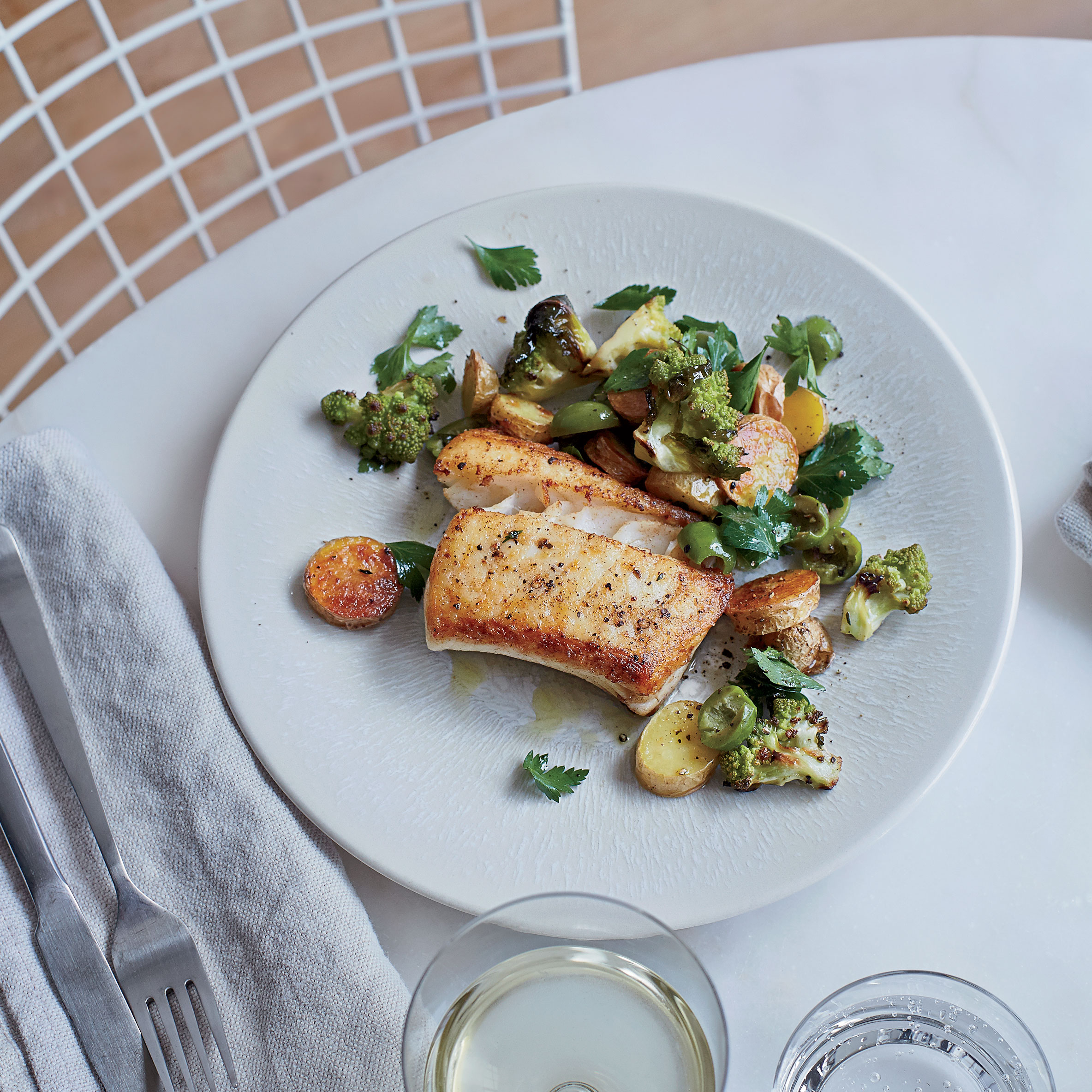 Halibut With Roasted Potatoes And Romanesco Salad Recipe