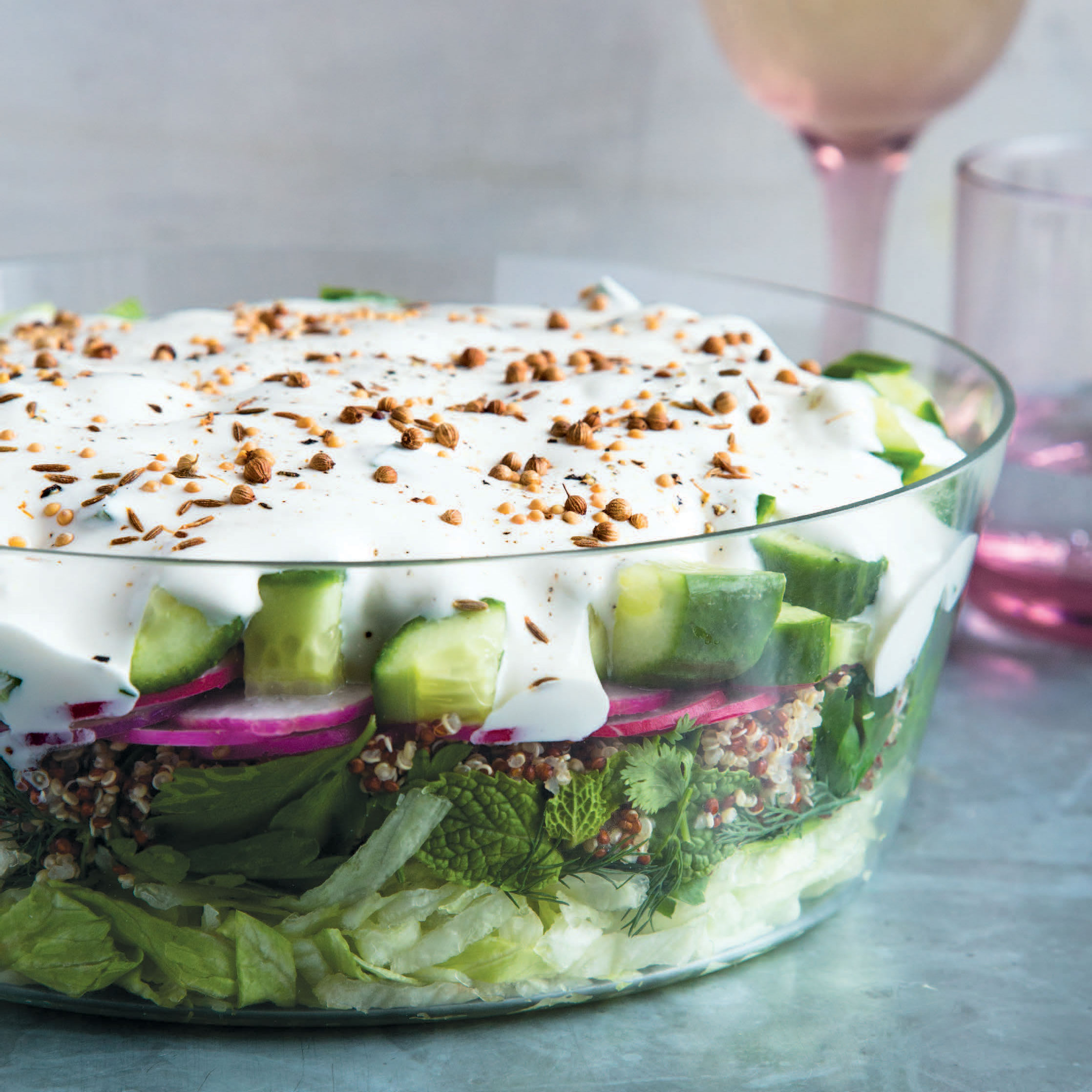 Middle Eastern Seven-Layer Salad Recipe