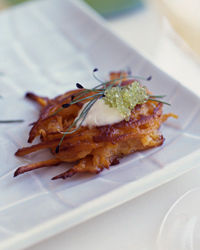 Sweet Potato Latkes with Wasabi and Wasabi Tobiko
