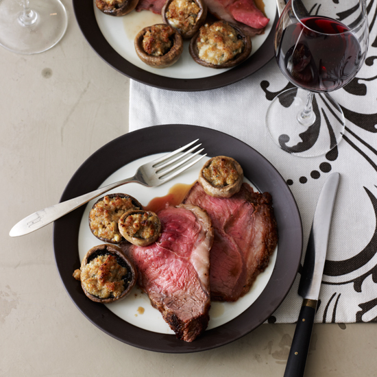 Sirloin Strip Roast with Roquefort Mushrooms