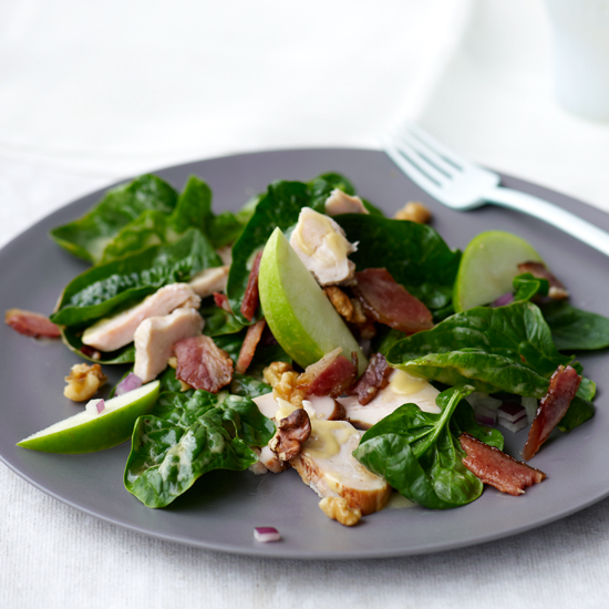 Spinach Salad with Smoked Chicken, Apple, Walnuts, and Bacon