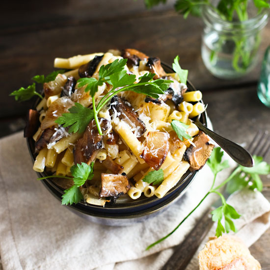 Ziti with Mushrooms, Caramelized Onions, and Goat Cheese