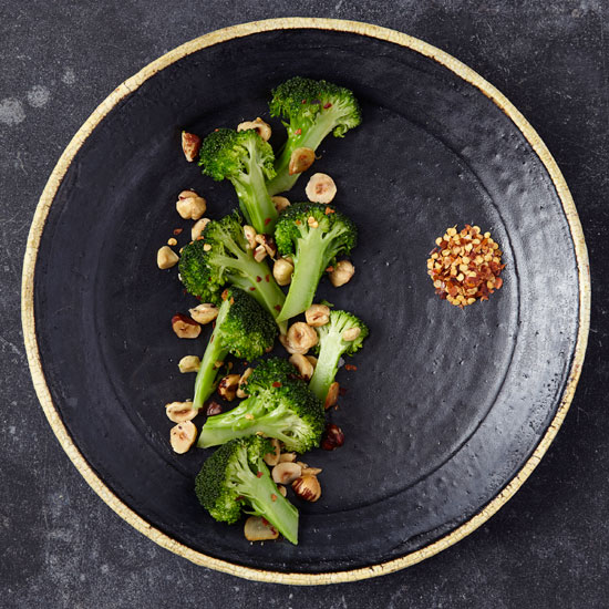 Twice-Cooked Broccoli with Hazelnuts and Garlic