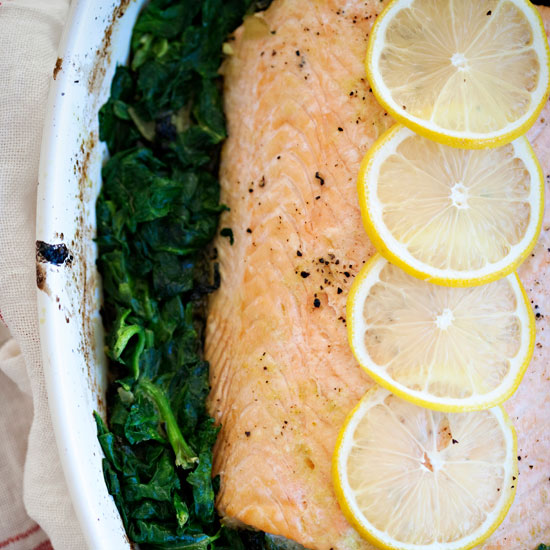 Salmon with Curried Spinach