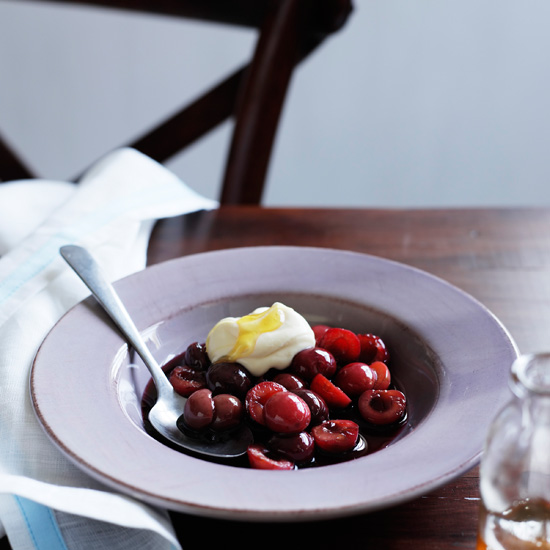 Cherries Poached in Red Wine with Mascarpone Cream