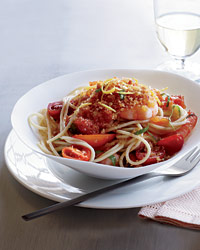 Spaghettini with Shrimp, Tomatoes and Chile Crumbs