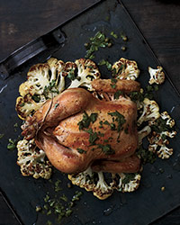 Whole Roasted Chicken on a Bed of Cauliflower Recipe