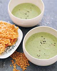 Vegetable Soups like Creamy Broccoli Soup with Cheddar Crisps