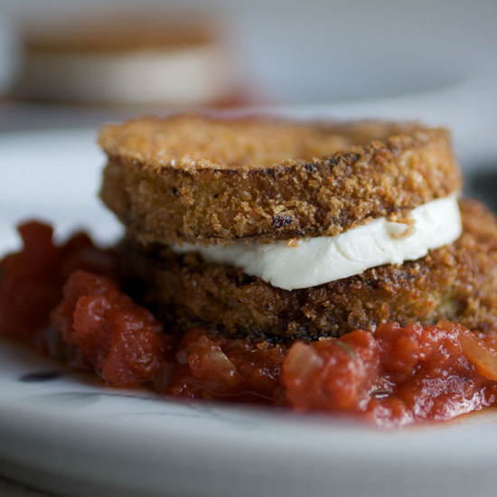 "Eggplant and Goat-Cheese ""Sandwiches"" with Tomato Tarragon Sauce"