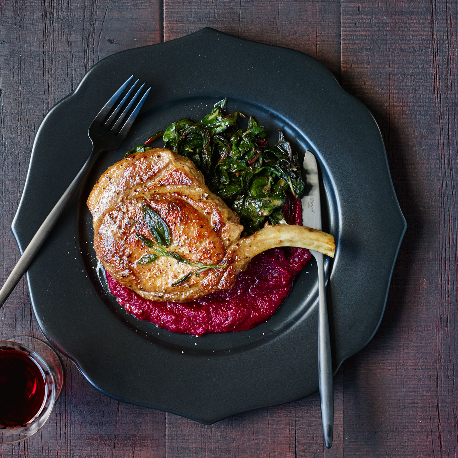 Pork Chops In Sage Butter With Beet Puree And Swiss Chard Recipe  Kamil  Oseka  Food & Wine
