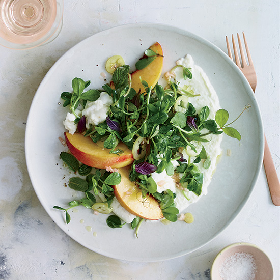 Burrata Salad with Peaches, Pickled Pepper and Pea Tendrils