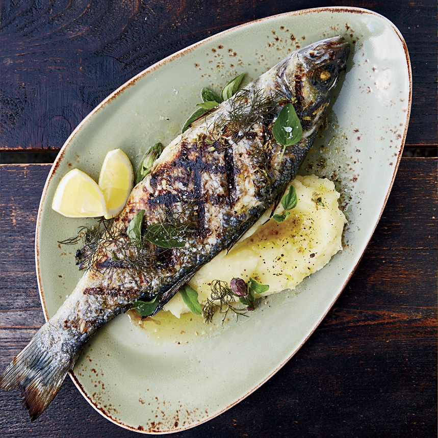 Grilled branzino with skordalia and ladolemono recipe for Fish cooking recipes