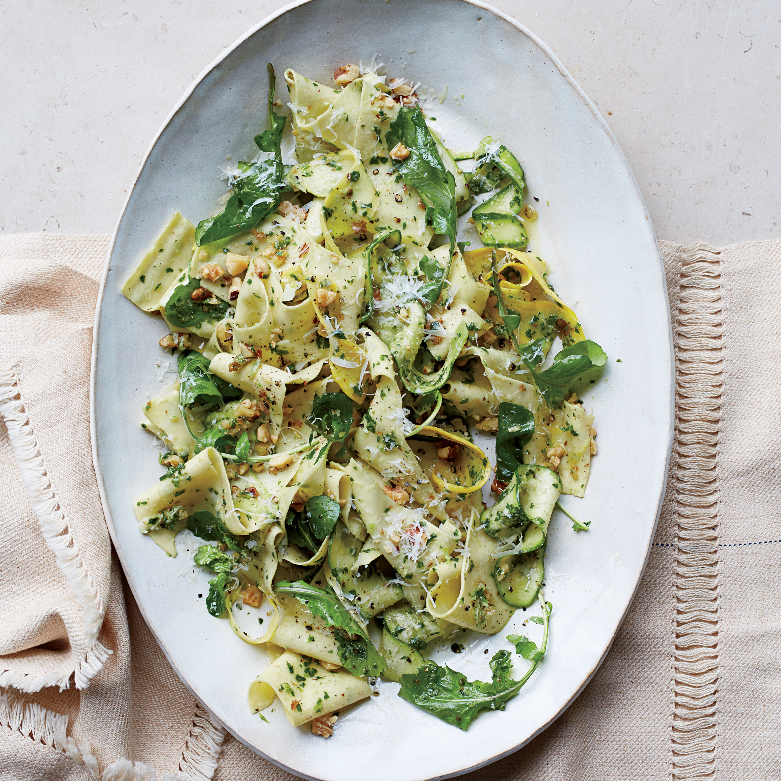 Pappardelle With Summer Squash And Arugula Walnut Pesto