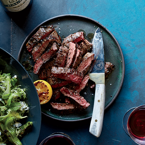 Grilled Skirt Steak with Shishitos and Charred Lemon