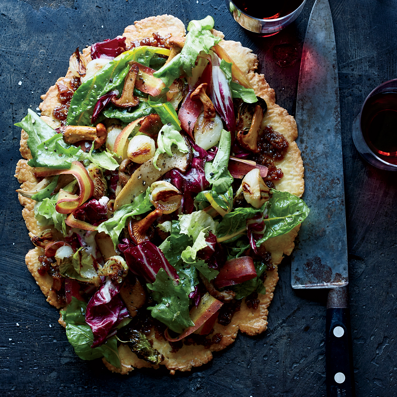 Free Form Autumn Vegetable Tart With Bacon Marmalade Recipe Timothy Hollingsworth Food Amp Wine
