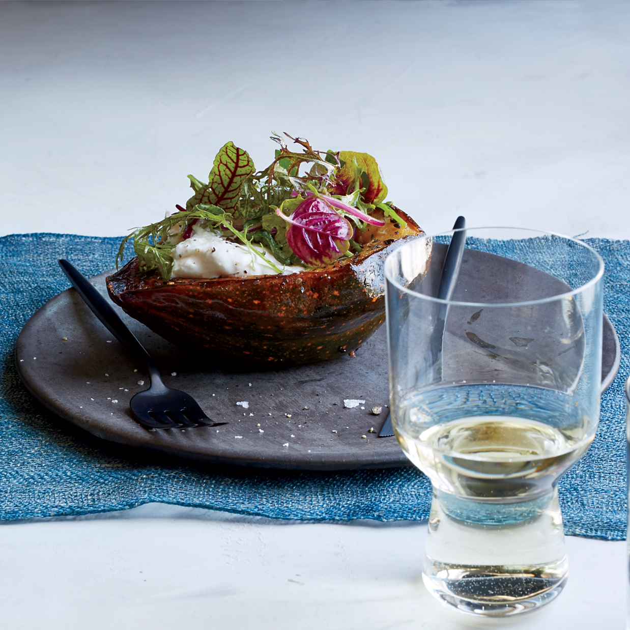 Roasted Acorn Squash with Garlic Butter and Burrata Recipe - Dave ...