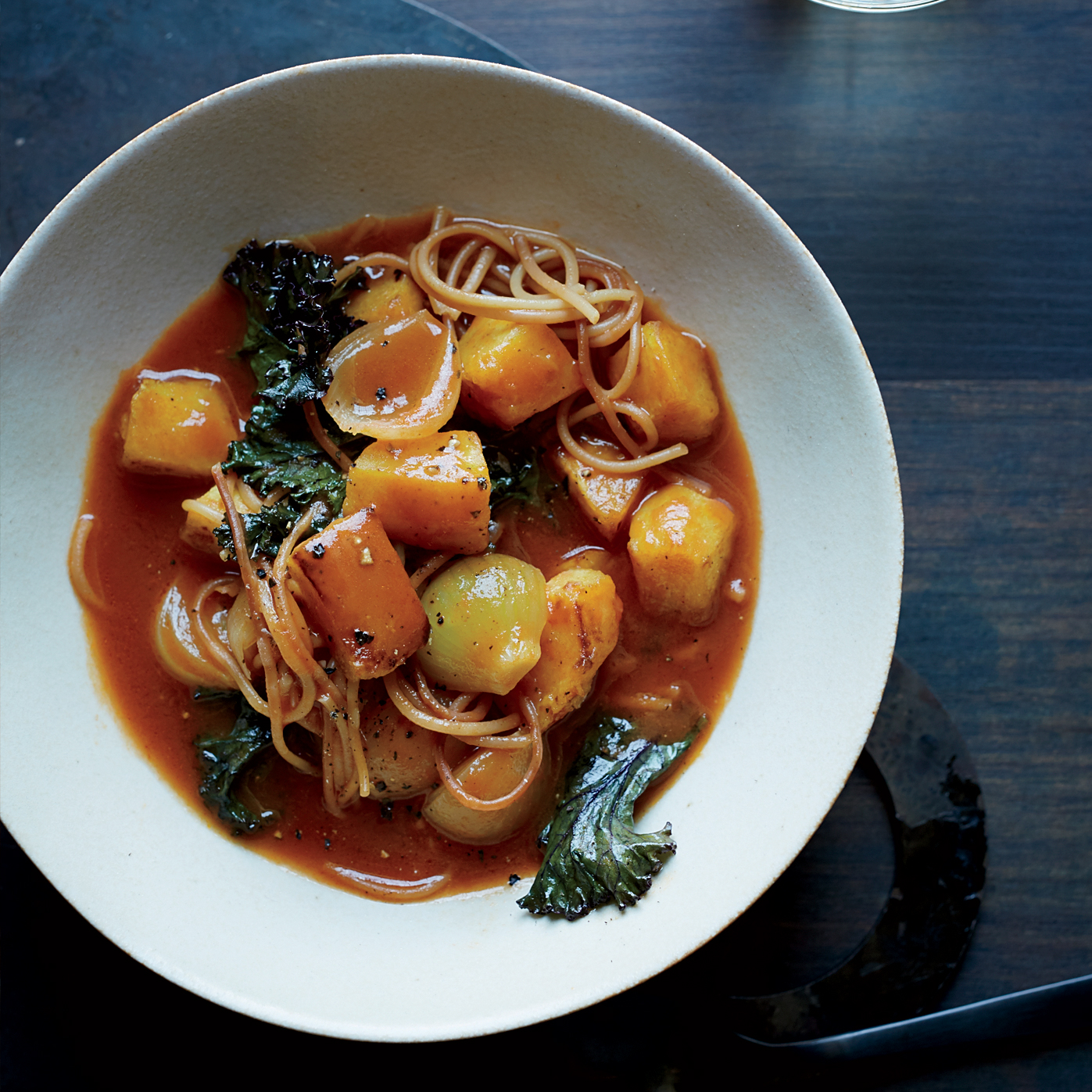 Food Wine: Winter Squash Soup With Kale And Fideos Recipe
