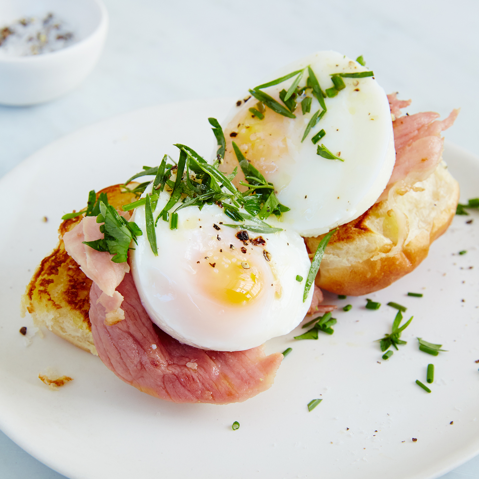 Open-Face Egg and Griddled Ham Breakfast Sandwiches Recipe - Justin ...