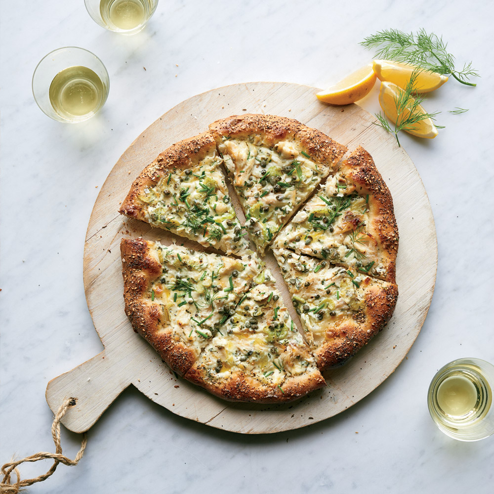 Smoked Whitefish Pizza with Seeded Crust