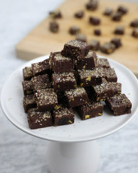 Dark Chocolate Fudge with Candied Ginger and Pistachios