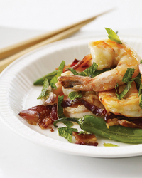 Stir-Fried Shrimp with Bacon, Mint and Chiles