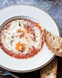 Eggs Baked in Roasted Tomato Sauce Recipe -Marisa May | Food & Wine