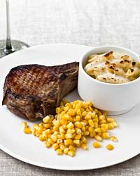 Pork Chop, Corn and Mascarpone Macaroni and Cheese