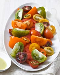Mixed Tomato Salad with Green Tomato Vinaigrette