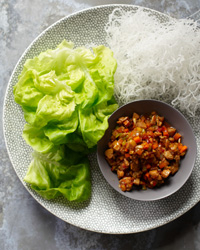 Blue Ginger Chicken in Lettuce Cups