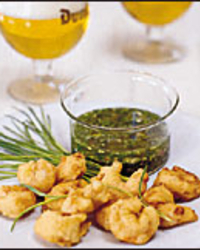 Crispy Fried Shrimp with Green Herb Sauce