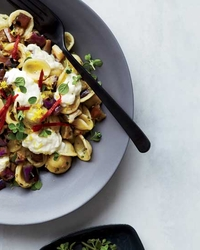 Orecchiette with Marinated Eggplant, Burrata and Chiles