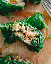 Lemony Bulgur-Stuffed Swiss Chard Leaves