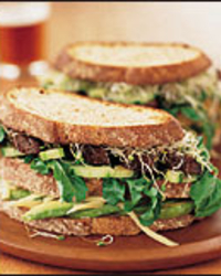 Roasted Portobello and Vegetable Club Sandwiches