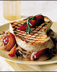 Swordfish with Sweet Onions and Red Plums