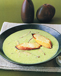 Creamy Asparagus Soup with Mushrooms and GruyÈre CroÛtes