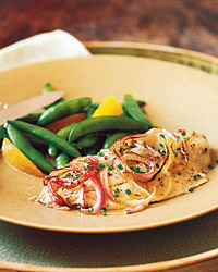 Broiled Bluefish with Red Onion and Citrus Dressing