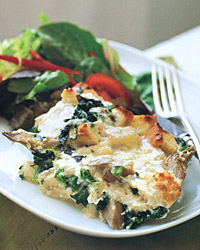 Artichoke-Heart, Spinach, and Mozzarella Bread Pudding