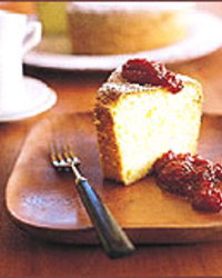 Orange Chiffon Cake with Rhubarb Jam