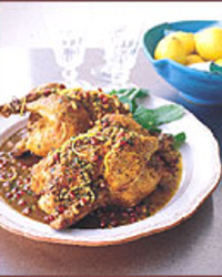 Cornish Hens with Pomegranate and Lemon