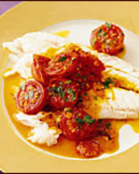 Salt-Baked Sea Bass with Warm Tomato Vinaigrette