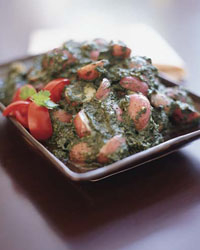 Coriander-Spiced New Potatoes in Spinach Sauce Recipe - Neelam Batra ...