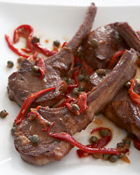 Lamb Chops with Piquillo Peppers and Sherry Vinegar Sauce