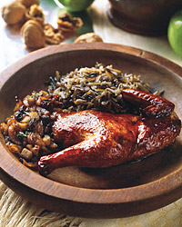 Cornish Hens with Fruit, Walnuts, and Honey Apple Glaze