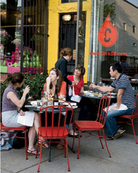 Cork offers an Old-World dominated wine list and outdoor seating.