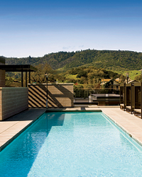 Luxurious, low-slung Bardessono takes its greenness seriously, using solar panels and geothermal wells to help heat the rooftop pool.