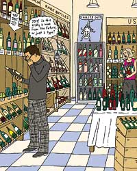 Shopping for wine.