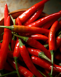 Dishes with hot chiles do well with reds that aren't too tannic. Photo © iStock.